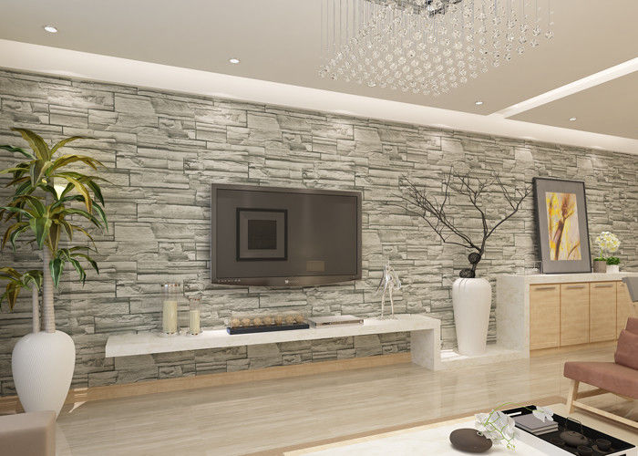Stylish removable faux 3d brick effect wallpaper with grey for Grey brick wallpaper living room