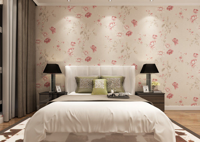 Eco - friendly Light Pink Country Floral Wallpaper , Bedding Room Vinyl Wall Coverings