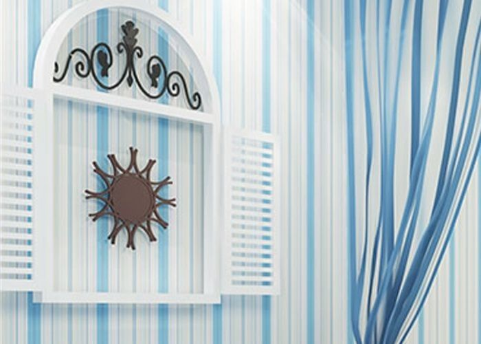 Embossed kids bedroom wallpaper vinyl blue and white for Blue and white bedroom wallpaper