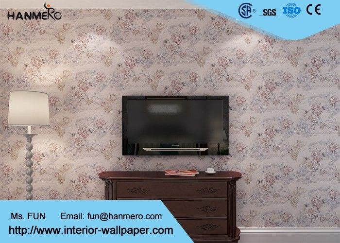 Floral Wall Covering Country Style Removable Wallpaper For Apartments