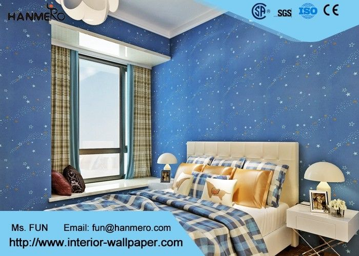 Deep blue kids bedroom wallpaper non toxic childrens for Bedroom wallpaper sale