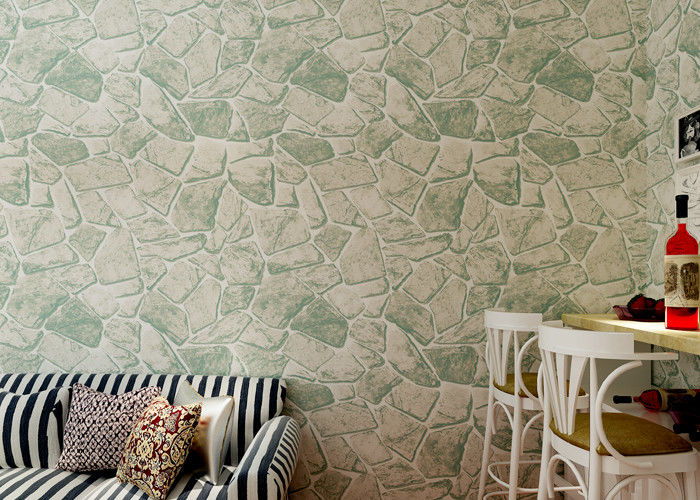Gray Removable Self Adhesive Wallpaper Stone Effect With Embossed Surface