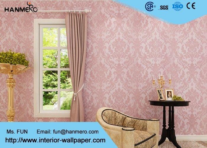 Flocking Pink Floral Pattern European Style Wallpaper for Bedroom ...