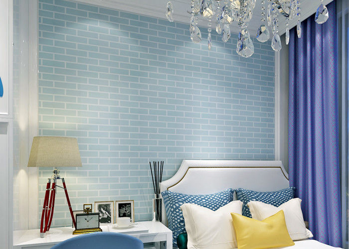 Blue self adhesive 3d brick effect wallpaper non woven for Pre adhesive wallpaper
