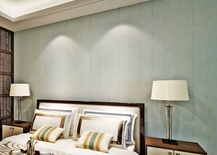 Embossed Bedroom No Glue Self Adhesive Vinyl Wallpaper With Leaf Pattern European Style