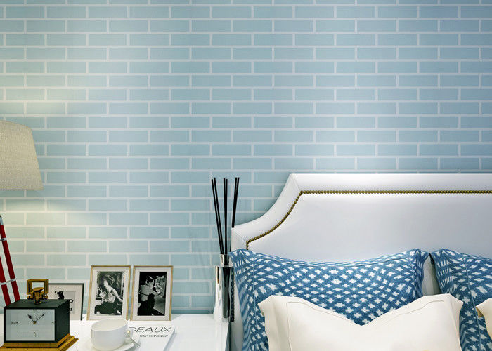 Blue pre pasted self adhesive wall covering non woven for Pre adhesive wallpaper