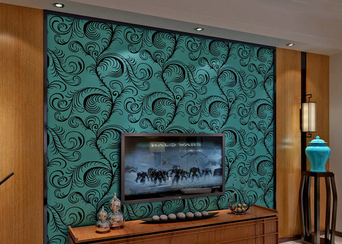 Luxury Soundproof Velvet Flock Wallpaper / 3D Wall Covering With 0.7*10M Size , Eco Friendly