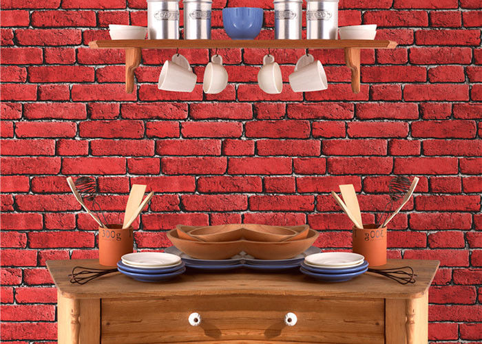 Merveilleux Vintage Removable 3D Brick Effect Wallpaper , Foam Faux Brick Wall Covering  Washable