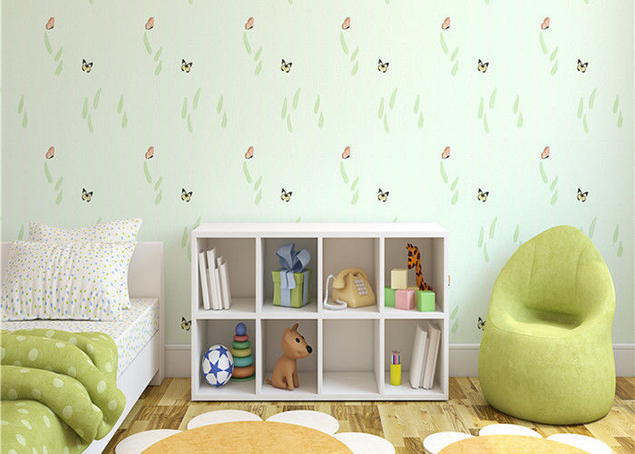 Non Woven Eco Friendly Kids Bedroom Wallpaper Butterfly And Green Plants Pattern