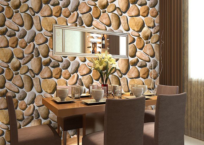 Cobblestone Printing Natural Style 3D Home Decoration Wallpaper CE / ISO / SGS / CSA Test