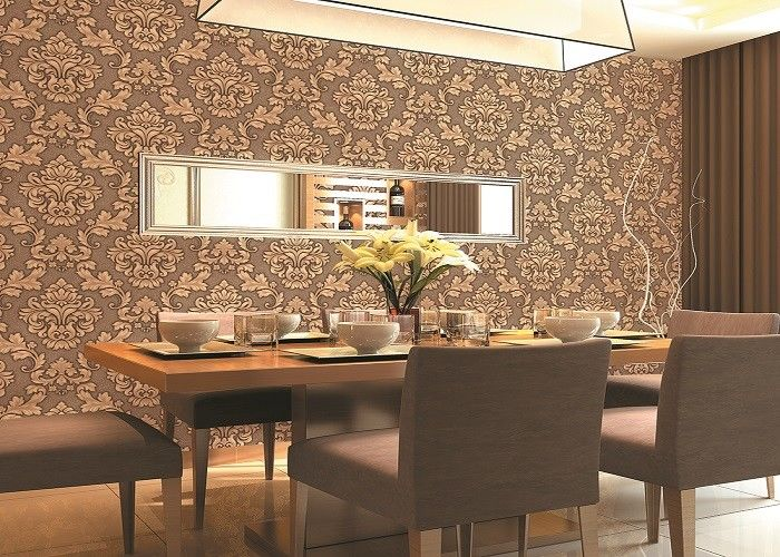 Beige / Yellow / Brick-red 3D Effect Deep Embossed Floral Wallpaper For Bedroom Background
