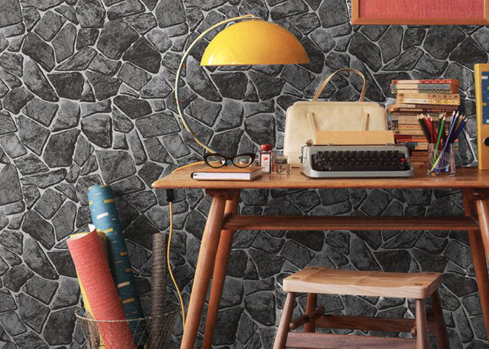 Stone printing chinese style washable vinyl wallpaper for interior room decoration