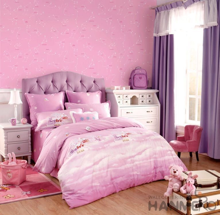 Removable Little Girls Bedroom Wallpaper , Girls Pink ...