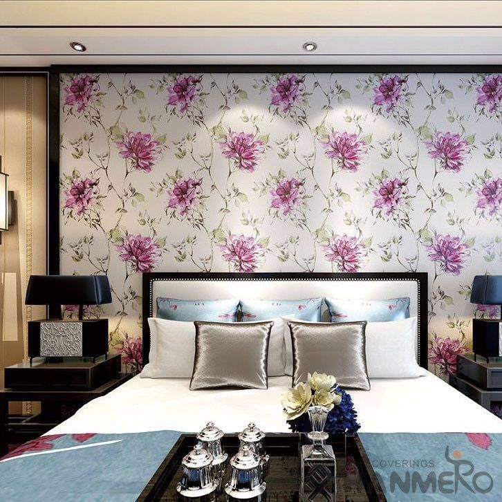 Chinese 0 53 10m Roll Suede Wallpaper With Big Pink Flowers