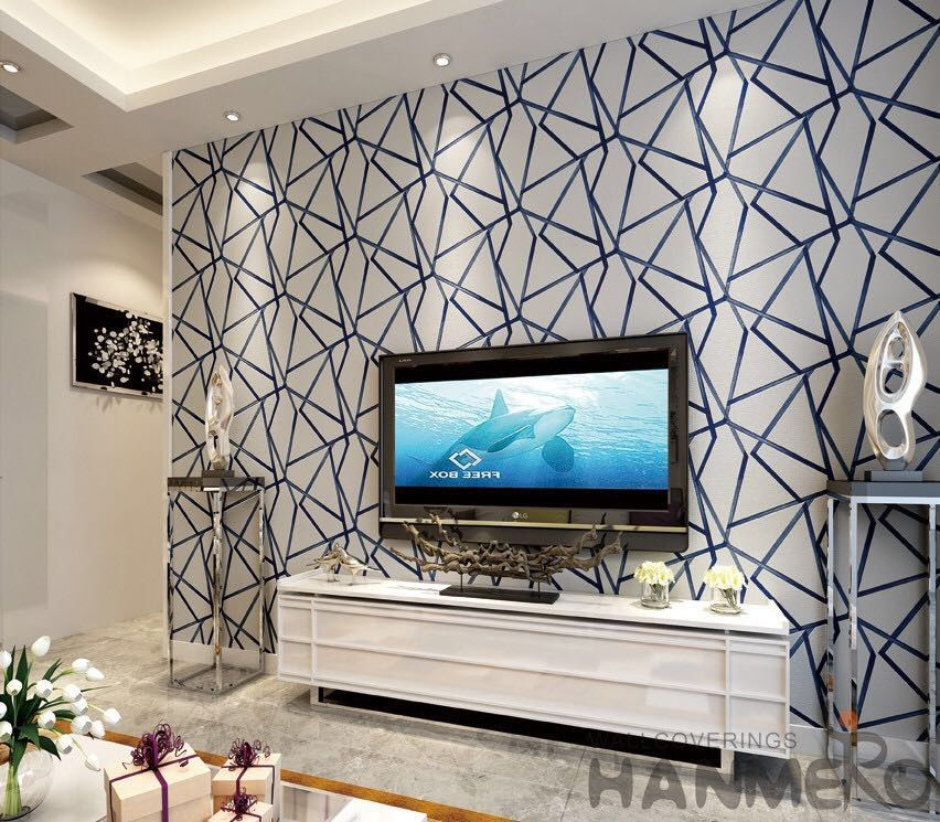 Modern Living Room 3d Suede Wallpaper 0 53 10m Geometric Design Wallcovering Exported