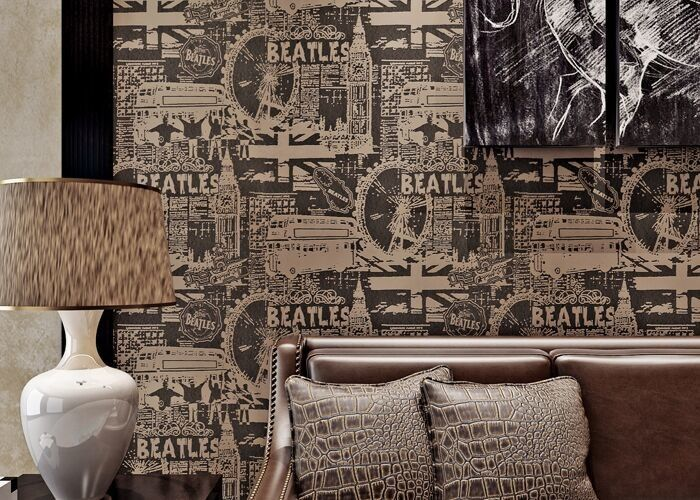 Vintage Style Modern Lounge Wallpaper 0.53*10M , Sitting Room Wallpaper With English Letters