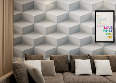 China Gray Colro 3D Home Wallpaper Removable , 3D Effect Geometric Modern Wallpaper factory