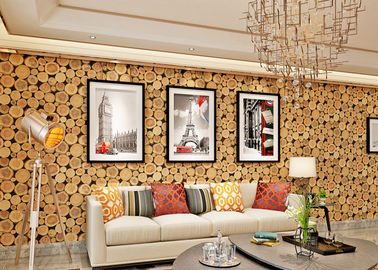 China Soundproof Wood 3D Room Wallpaper , 3D Vinyl Wallpaper For TV Background factory