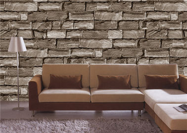 China Brown 3d effect wallpaper for walls , Lobby 3d stone effect wallpaper factory