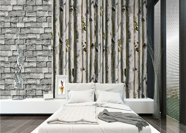 China Grey birch tree home 3d wallpaper / no toxic Living Room Wallpaper Heat insulation factory